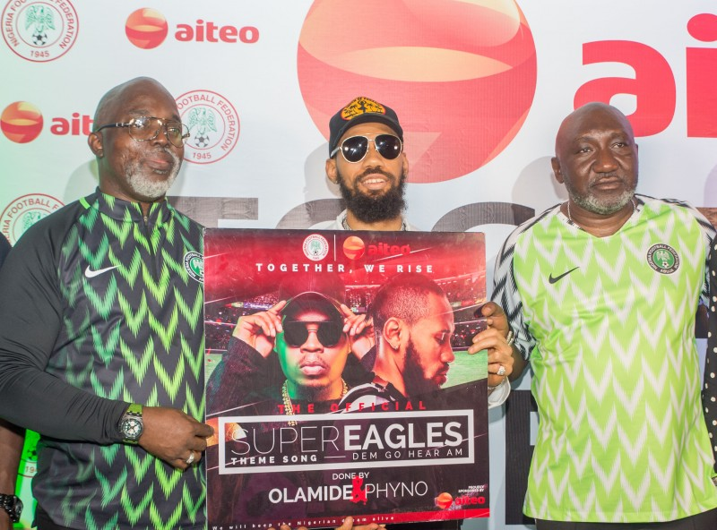 Amaju Pinnick, President, Nigeria Football Federation (NFF); Chibuzor Azubuike a.k.a Phyno, Artiste and Francis Peters, Deputy Managing Director, Aiteo Group. (Image Source: Aiteo Group)